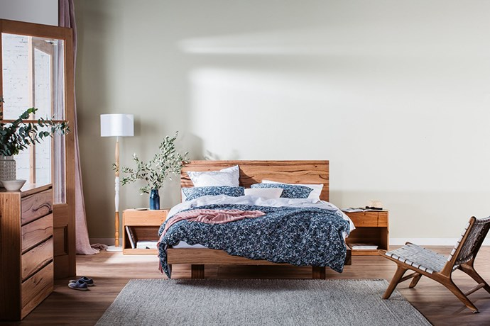 """Made from solid messmate timber, the [Snooze Iris Nights bed frame](https://www.snooze.com.au/products/iris-nights-bed-frame?variant=12310015442967&from_query=Iris%20Nights