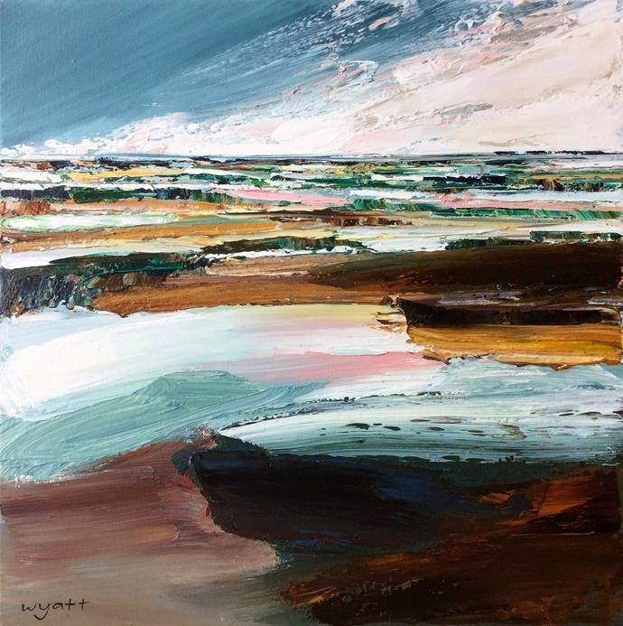 """Australian artist Katie Wyatt paints impressionist, highly textured landscapes and botanical pieces in oil paint. She uses brushes and palette knives to create paintings that are almost sculptural, inviting viewers to feel connected to the work. Thick swathes of oil paint define the features of the Australian landscapes, which are painted from memory and recollection.  Visit [katiewyatt.com](http://www.katiewyatt.com/