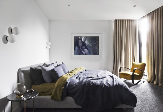 Jindrich Halabala armchair from Atlas Gallery, photographic print by Fiona Storey, and bedlinen from Cultiver.