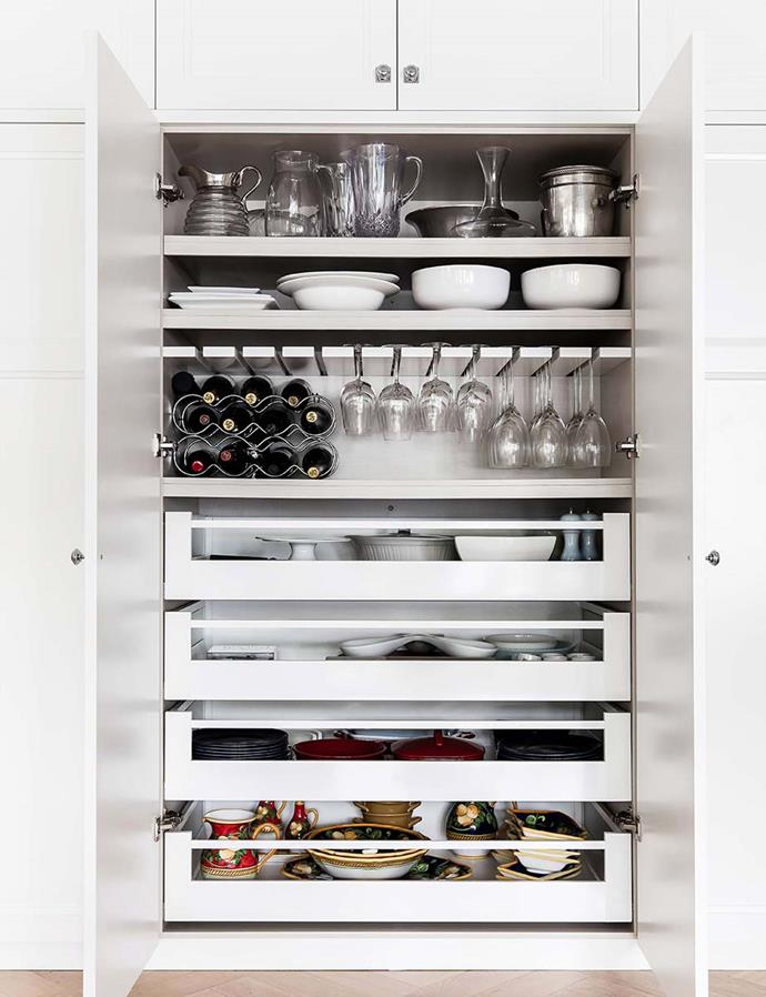 If you're tight on space, try cupboards which offer a combination of shelving and draw options as these can house everything you need for entertaining, all in one place. *Maree Homer / bauersyndication.com.au*