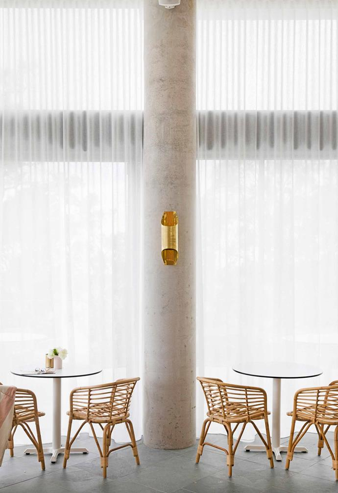 When required, curtains block the sun at the hotel's Terrace Bar.