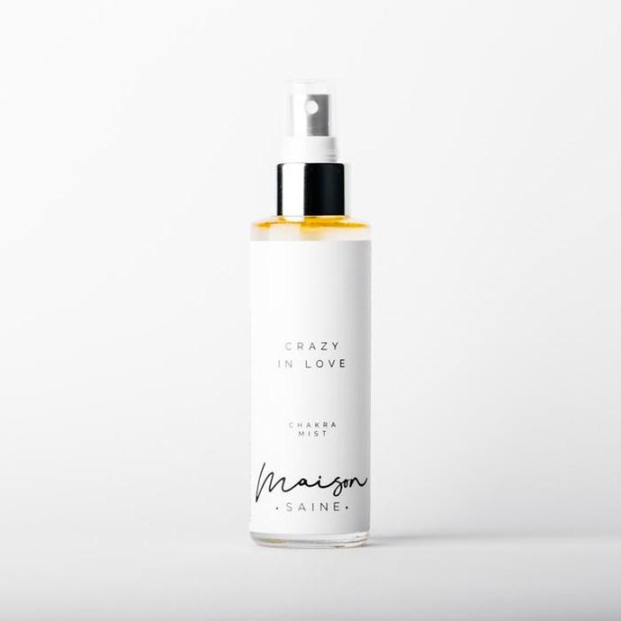 "'Crazy in Love' Chakra Mist, $40, [Maison Saine](https://maison-saine.com.au/collections/mists/products/crazy-in-love-mist|target=""_blank""|rel=""nofollow"")"