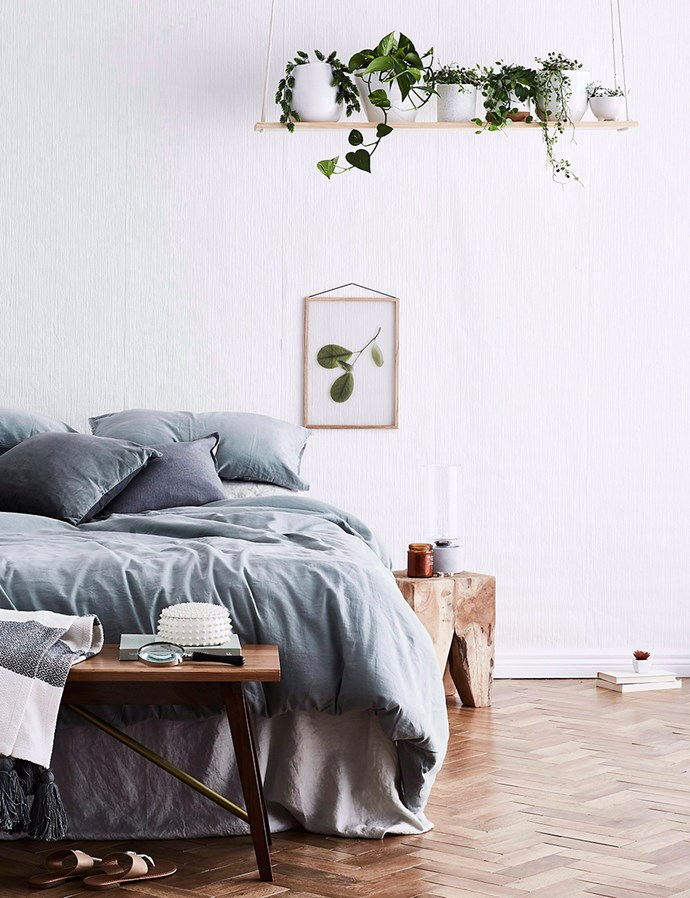 Beat bedroom boredom by adding in fresh pops of greenery. *Image: Kristina Soljo/bauersyndication.com.au*