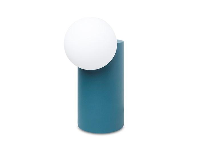 "Milligram 'Form' lamp in Teal [milligram.com](https://milligram.com/milligram-form-light-cylinder-green|target=""_blank""|rel=""nofollow"")"