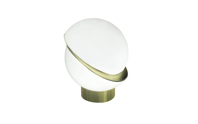 """**Lee Broom 'Crescent' table lamp**: A twist on the classic globe light, this dramatic form is an illuminated acrylic sphere, asymmetrically sliced open to reveal a crescent-shaped fascia in brushed brass. The light source is a high-powered LED bulb. It measures 38x48.5cm, $2370. [spacefurniture.com.au](https://www.spacefurniture.com.au/