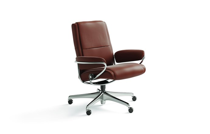 """**'Paris Low-Back' chair inCopper**: For all-day comfort and support, this handsome seat is hard to beat. It boasts polished aluminium legs, a steel frame and top-grain leather upholstery. Additional features include a smooth-gliding recliner function, 360-degree rotation and adjustable seat height, from $2700. [stressless.com](https://www.stressless.com/en-au/