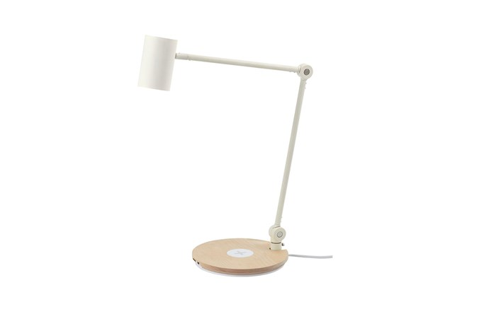 """**'Riggad' desk lamp**: With an energy-efficient LED globe and a wireless charger in the base, this lamp not only illuminates your work surface but means you can charge two devices at a time. Made of cast iron, aluminium and birch, it stands 43cm high, $99. [ikea.com.au](https://www.ikea.com/au/en/catalog/products/40385637/