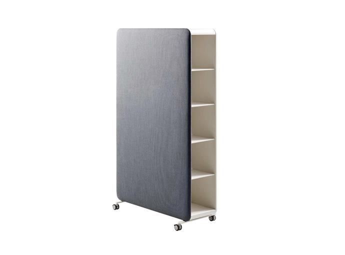 """**Cascando 'Pillow Space' storage unit in Light Grey**: Measuring 113x193cm, this versatile unit on castors has a powdercoated steel body and polypropylene upholstery. You can affix optional whiteboards, hooks, shelves or other add-ons to the exterior, $6105. [stylecrafthome.com.au](http://stylecrafthome.com.au/