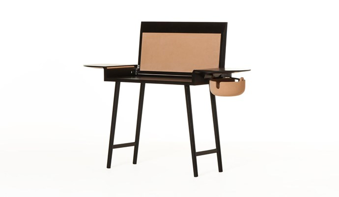 """**Studioilse for De La Espada 'Companions' desk**: Elegant enough to be used as a console when closed, this desk in American oak with cork detailing has a fold-down top and a caddy to hold messy computer cords. It measures 140cm and, at just 40cm deep, can be slotted into almost any domestic space, $5420. [spenceandlyda.com.au](https://www.spenceandlyda.com.au/454-conpanions-writing-desk.html