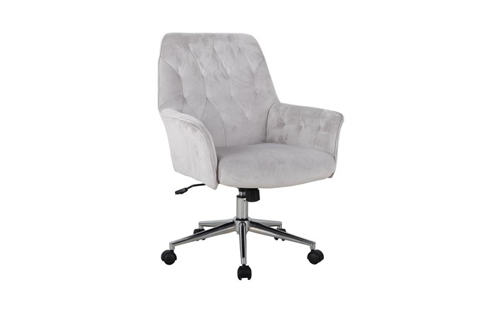 """**'Evelyn' chair in Silver**: Upholstered in super-soft velvet, this luxurious office chair includes an adjustable gas-lift seat for the perfect working height. The chrome base is on castors, so the chair can be moved around with ease, $399. [harveynorman.com.au](https://www.harveynorman.com.au/