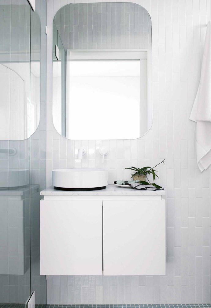 """Alexandra and David took on the renovation over and above their full-time work, with David acting as project manager. """"It was quite hands-on, which is how we like it,"""" says Alexandra.<br><br>**Ensuite** """"This is a tiny space and it was important to maximise as much vanity top as possible without sacrificing basin size,"""" says Alexandra. """"The enamelled steel Alape 'Unisono' basin from [Reece](https://www.reece.com.au/