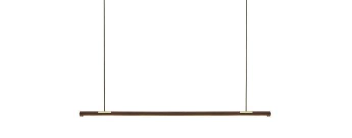 "'Double Half Ermet' American walnut and brass pendant light, $2300, [alexearl.com.au](|target=""_blank""|rel=""nofollow"")"