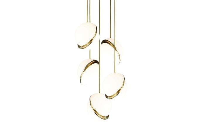 "Lee Broom 'Mini Crescent' brass chandelier, $5090, [spacefurniture.com.au](https://www.spacefurniture.com.au/|target=""_blank""