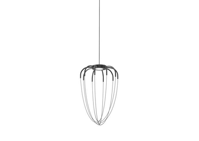 "Axolight 'Alysoid 34' pendant light with nickel chains, $1520, [mondoluce.com](https://www.mondoluce.com/|target=""_blank""