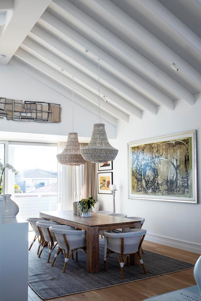 A pair of statement chandeliers from Emporium Avenue hang in the the dining area which has been designed meticulously by Deborah.