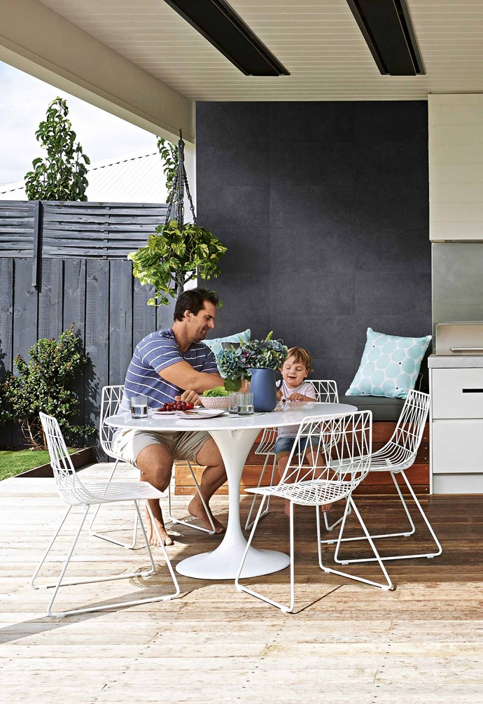 "Being parents to three small boys adds a whole extra layer of problem-solving to a renovation. For Lauren and Matt Wilson, it was definitely a case of knowing what was in store when they started working on their house in the Victorian suburb of Newtown 17 months ago. The pair had renovated a house just a couple of streets away, but sold it to friends who had said they would buy it if Lauren and Matt were ever interested in selling – ""builders are always interested in selling!"" says Lauren with a laugh.<br><br>**Outdoors** Owners Matt and Lauren use this covered [spotted gum deck area](https://www.homestolove.com.au/balcony-and-deck-design-ideas-2458