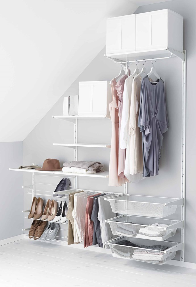 """**Save on** built-in wardrobes. The IKEA 'Algot' storage series keeps everything organised and is easily customisable. *Image courtesy of [IKEA](https://www.ikea.com/