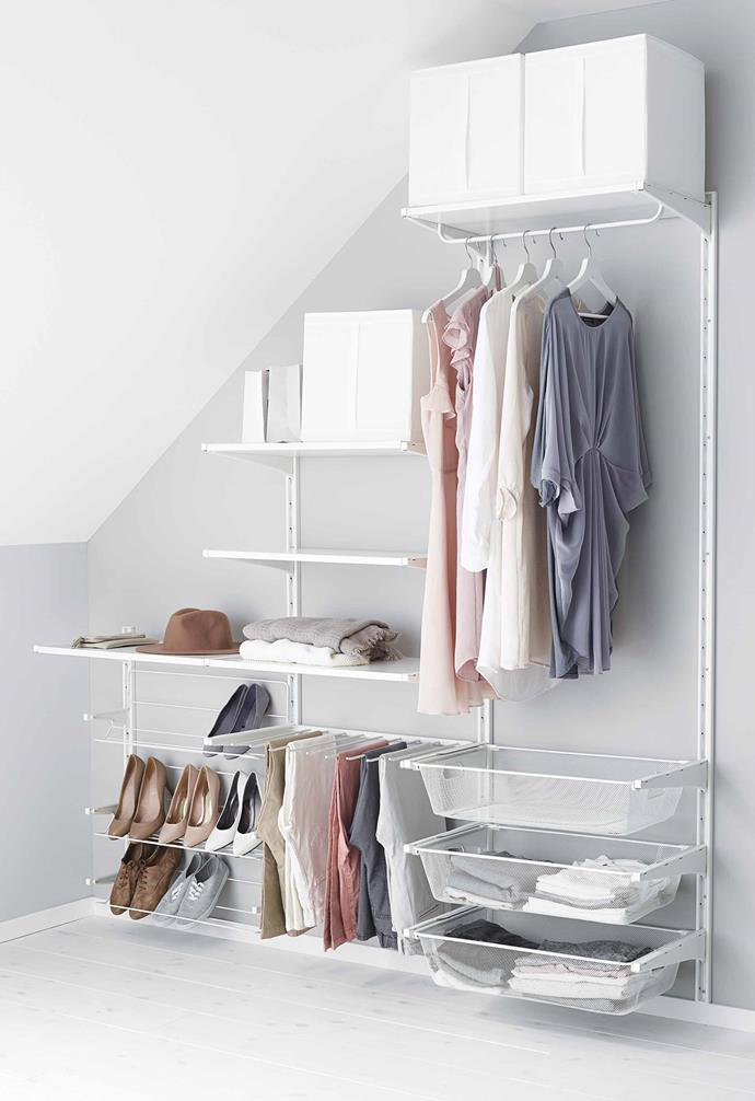 "**Save on** built-in wardrobes. The IKEA 'Algot' storage series keeps everything organised and is easily customisable. *Image courtesy of [IKEA](https://www.ikea.com/|target=""_blank""