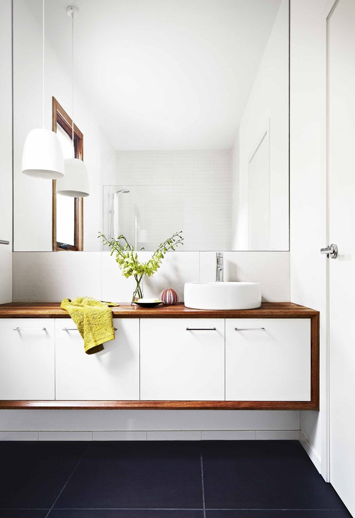 **Spend on** a floating vanity and mirror if your bathroom is on the small side. It creates the illusion of more space, which is worth the extra dosh! *Styling: Marsha Golemac | Photography: Brooke Holm *.