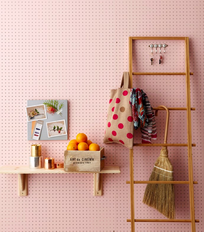 **Hang a shelf:** Make better use of your walls with some classic bracket-style shelving, which can be used in myriad ways. Most shelves come as kits with all the necessary screws, but you'll also need an electric or battery-powered drill, some wall plugs if you're securing your shelf to a masonry wall and a spirit level to make sure it's not wonky. Go one step further and paint your shelves the same colour as your walls for a streamlined look.