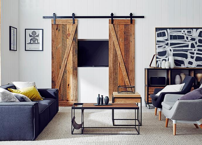 """**Disguise your TV:** While we all love a night in front of the tele, when it's not in use, it can stick out like a sore thumb. [Help your TV camouflage](https://www.homestolove.com.au/ways-to-camouflage-your-tv-2967 target=""""_blank"""") into the background by drawing the eye elsewhere – think a textured finish on your walls – or hide it away behind some sliding doors."""