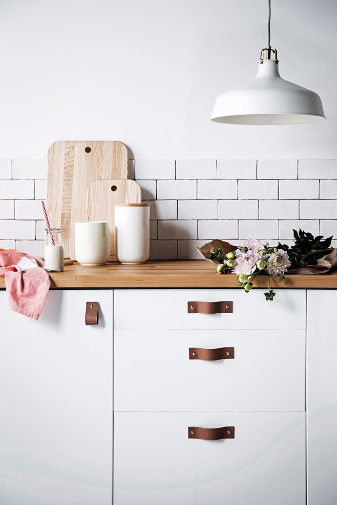 "**Refresh your joinery:** Give your joinery a modern update without spending a truckload by replacing any tired and outdated door and drawer handles with [stylish leather pulls](https://www.homestolove.com.au/diy-pleather-drawer-handles-4180|target=""_blank""). All you need is some leather strapping and metal studs in your chosen finish, and voilà!"