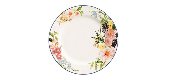 "Floral Rim Dinner Plate, $69/set of four, [Pottery Barn](http://www.potterybarn.com.au/floral-rim-dinner-plate-set|target=""_blank""