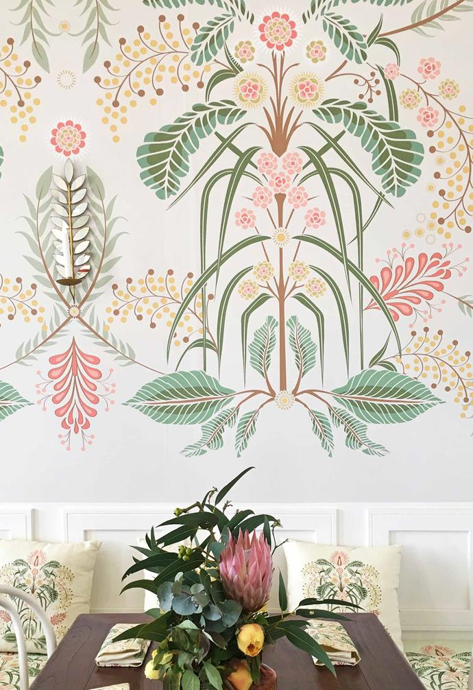 **Installation** Silvana's 'Wattle Delight' wallpaper, designed for and featured in The Emirates Melbourne Cup marquee, with 'Wattle Delight' cushions in Silver.