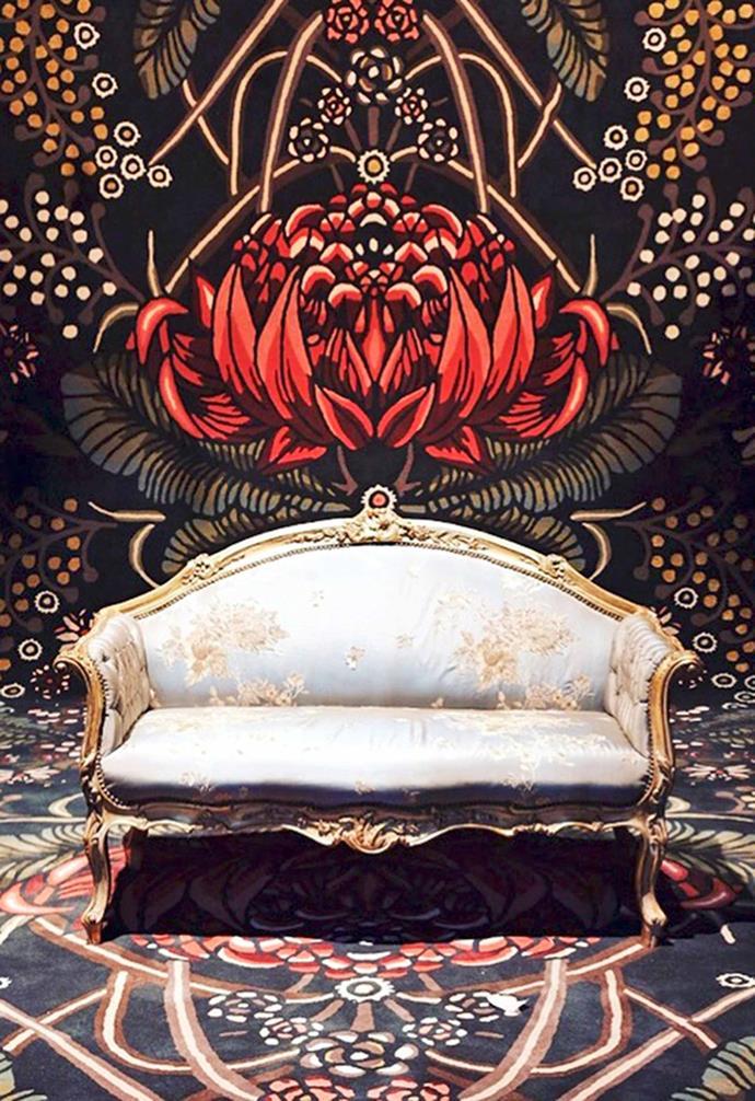 **Event** 'Bush Bouquet' rug designed for the Sydney Children's Hospital Gold Dinner.