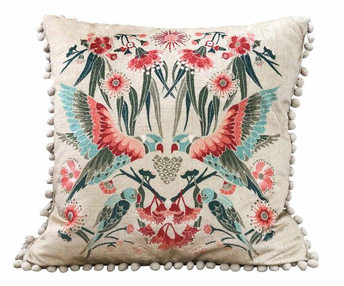 **Homewares** 'Gumnut Paradise' velvet cushion in Cream.