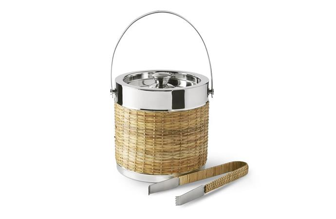 "AERIN Woven & Silver Ice Bucket With Tongs, $80, [Williams Sonoma](http://www.williams-sonoma.com.au/woven-silver-icebucket-with-tongs|target=""_blank""