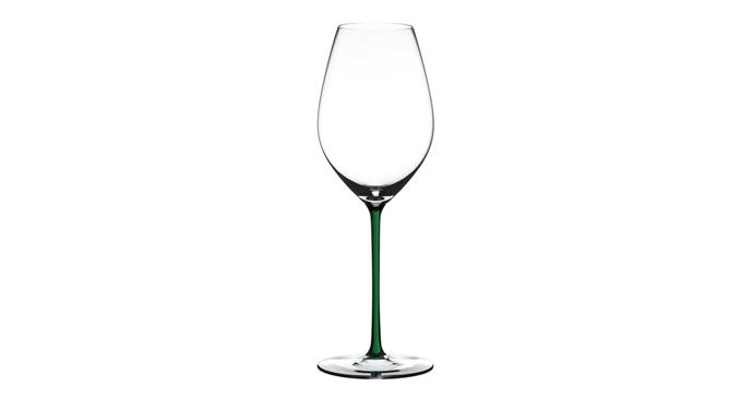 "Riedel Fatto a Mano Champagne Wine Glass in Green, $130, [Riedel](https://www.riedel.com/en-au/shop/fatto-a-mano/champagne-wine-glass-green-490000G28|target=""_blank""