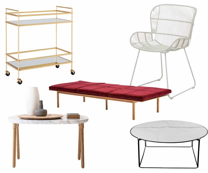 """**Global village** A variety of pieces from different design influences help bring a Palm Springs look together. **Get the look** (clockwise from left) 'Terrace' bar cart, $699, [West Elm](http://www.westelm.com.au/