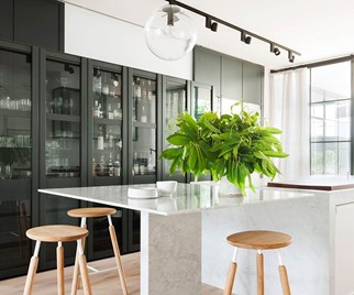 Contemporary kitchen with glass fronted cabinets and marble island
