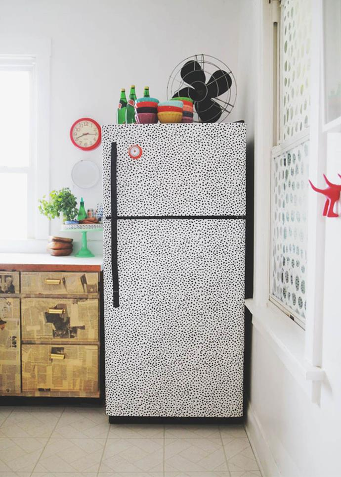 "**Refresh your fridge:**Why not pull out the big guns and wallpaper the fridge. It's a big statement, but easy to change every couple of years once the print starts to lose its appeal. Get the DIY [here](http://www.auntpeaches.com/2015/04/i-wallpapered-the-fridge-again.html|target=""_blank""
