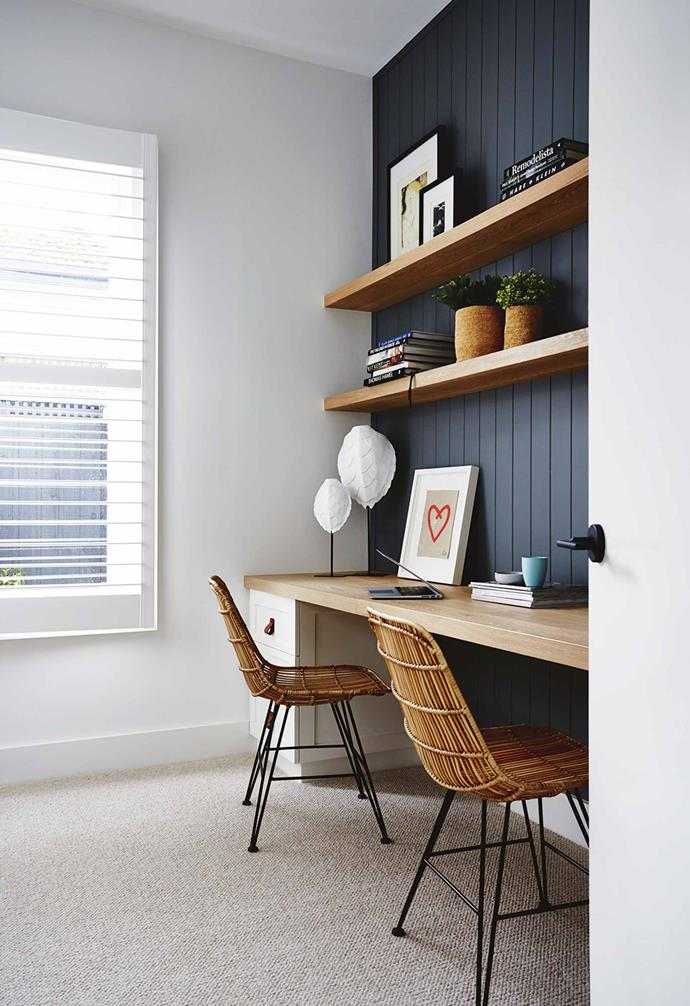 """One of the reasons we wanted to buy the house was that it had period features, so we had a heritage advisor come on site to see what needed to happen. The house is not a listed home but it's in an area with a heritage overlay so we respected that.<br><br>**Study** Easycraft panels painted in [Dulux](https://www.dulux.com.au/