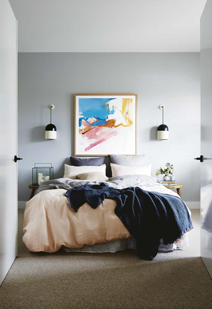 """We've now settled into a rental property and everyone's happy, so we're looking at staying here for a couple of years and doing a few more renovation projects – I'm ready and raring to go!<br><br>**Guest bedroom** A Prudence Caroline artwork sits against a wall in [Dulux](https://www.dulux.com.au/