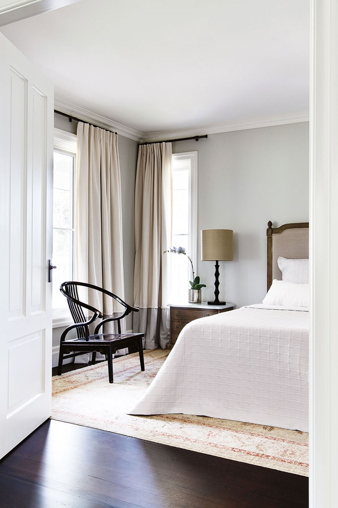 Layers of muted neutrals imbue this bedroom with a sense of calm and restfulness. *Photo: Thomas Dalhoff*