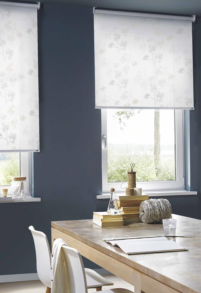"""**Prints charming** Roller blinds are no longer a boring block neutral. [Luxaflex's](https://www.luxaflex.com.au/