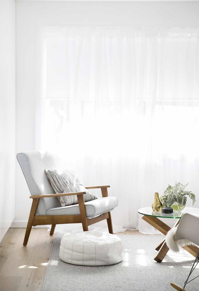 **Double up** A mix of curtains and blinds can be the best answer of all. The owners of this 1940s duplex on Sydney's Northern Beaches kept the home's period flavour by matching roller blinds for blockout with a barely-there sheer fabric to let the light flood in when required. *Styling: Kerrie-Ann Jones   Photography: Chris Warnes*.