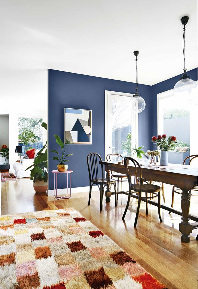 "The challenge began with Anna carrying out a giant cull of unwanted ""brown and beige"" furniture then filling her new and much larger home with a variety of family antiques and modern pieces that packed a punch with colour.<br><br>**Dining area** A wall in [Dulux](https://www.dulux.com.au/