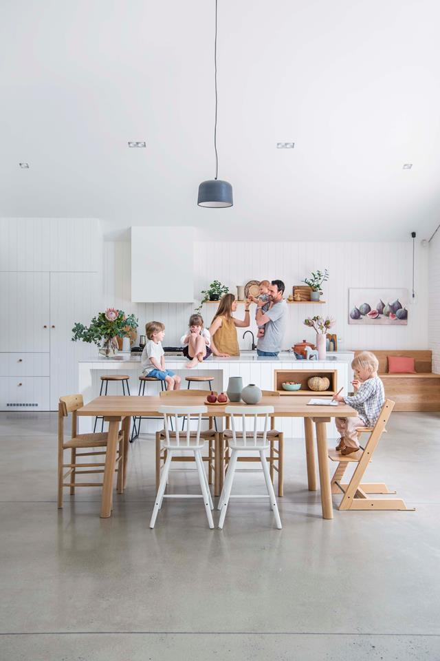 "The family space in this [Nordic-style home](https://www.homestolove.com.au/nordic-style-timber-clad-family-home-in-adelaide-19016|target=""_blank"") has a practical polished concrete floor. *Photograph*: Jacqui Way *Stylist*: Jeni Jones"