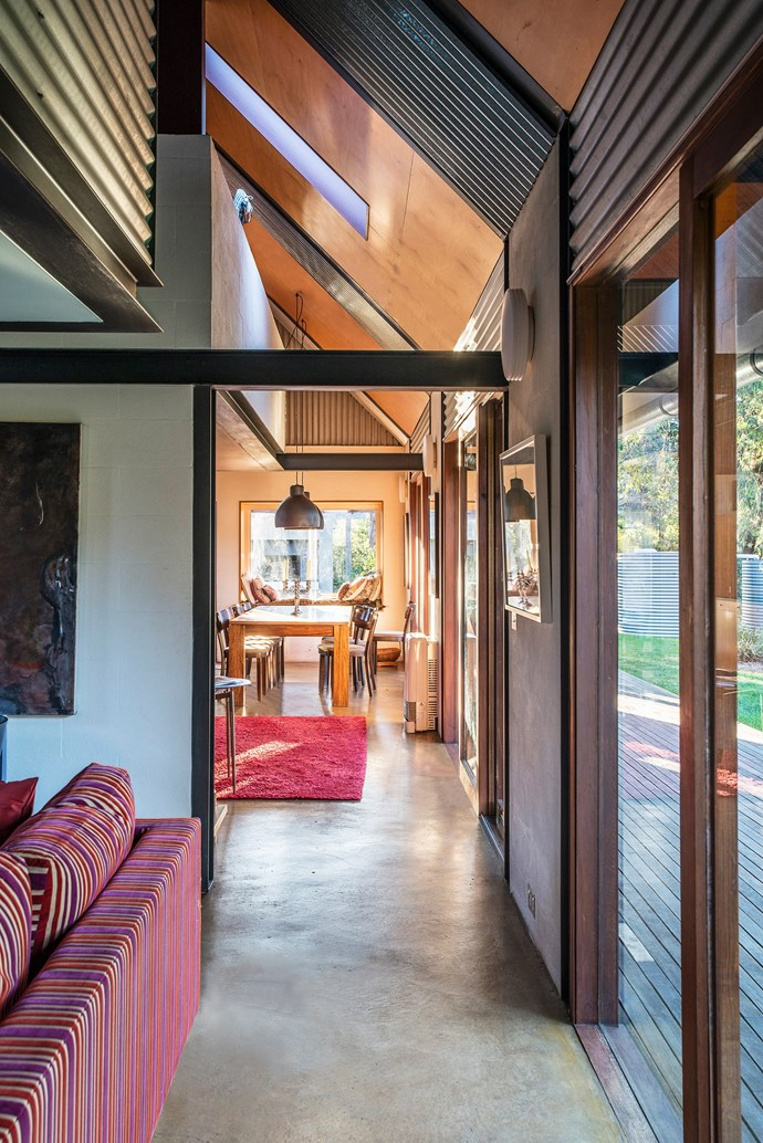 "In this [Southern Highlands house](https://www.homestolove.com.au/what-to-consider-when-designing-a-sustainable-home-3861|target=""_blank"") by architectural designer David Luckie, the concrete slab floor warms up during the day and releases heat at night. *Photograph*: Robert Reichenfeld"