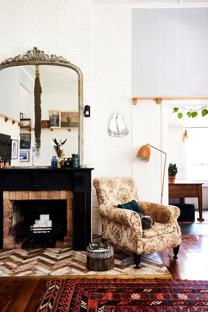 """The couple restored the existing timber floorboards. """"There's so many stories in those floors,"""" Jo says."""