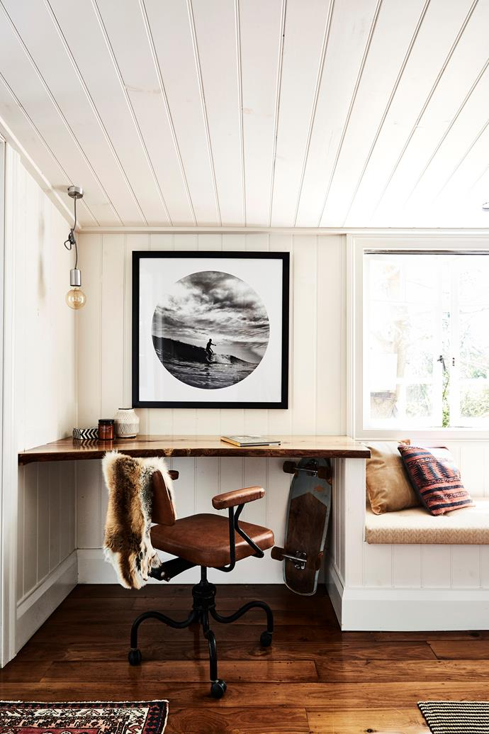 The industrial chair in the bedroom was purchased on Gumtree and Scott made the cushions for the window seat.