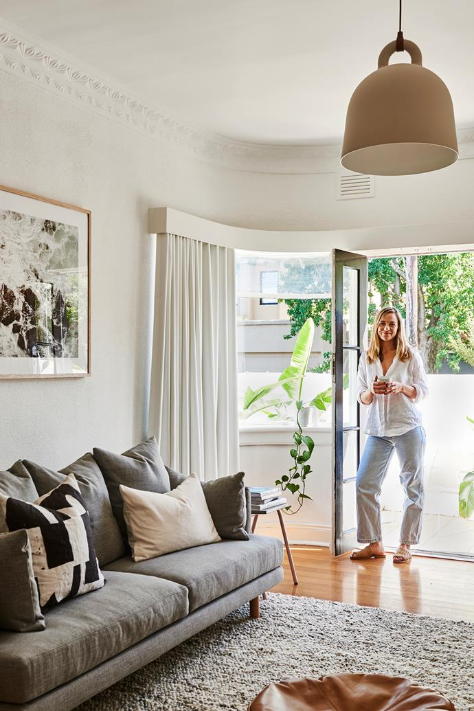 """Lucy Glade-Wright in her light-filled home. White Wash Art Print from [Hunting for George](https://www.huntingforgeorge.com/white-wash-art-print-hunting-for-george