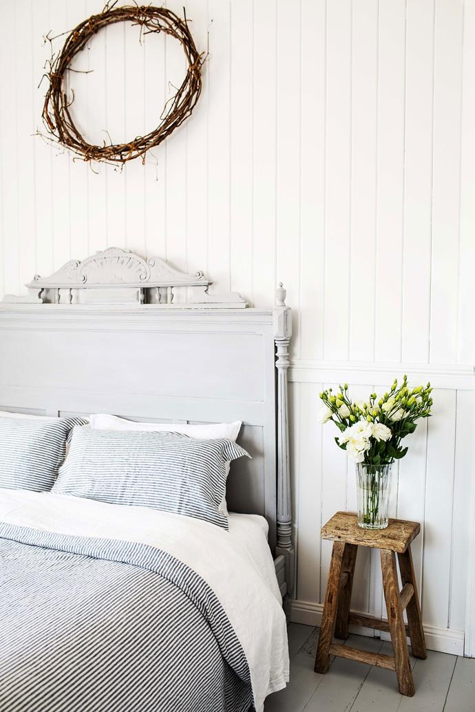 """The bed frame is from Tallebudgera and Sandy painted it in [Annie Sloan Chalk Paint](https://www.anniesloan.com/