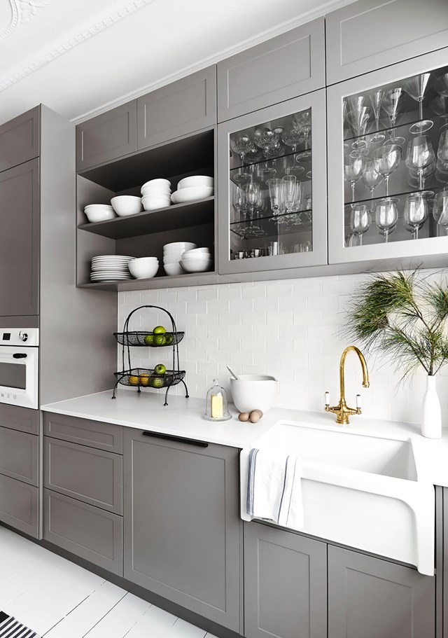 Last year, Neale Whitaker unveiled a brand new kitchen at his home in the NSW South Coast. It features an open-ended butler's pantry and a fresh, white-and-grey palette. *Photo: John Paul Urizar / bauersyndication.com.au*