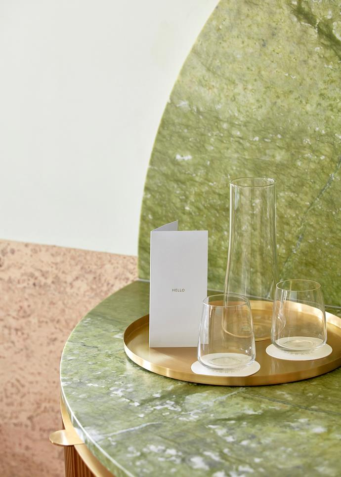 A drink from the marble mini bar is a stylish affair.
