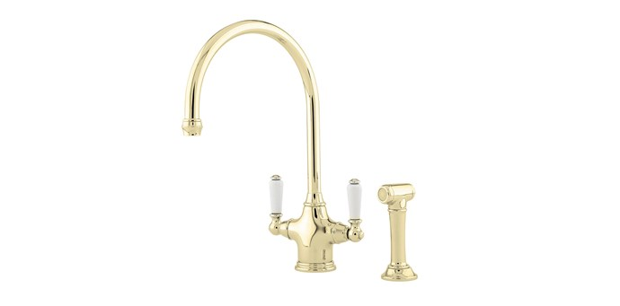 """Perrin & Rowe 'Phoenician' one-hole sink mixer in polished brass with white porcelain levers and bar-sink spout, $1008, [The English Tapware Company](https://www.englishtapware.com.au/products/AU4360